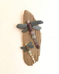 """Two Rock Dragonflies on Driftwood- 10"""""""