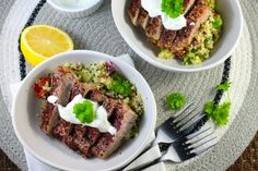These delicious Keto Pork Steak recipe uses a tasty Zaatar spice mix to create an interesting and vibrant middle eastern dish, perfectly served with Keto Tabouleh and minted yoghurt. Steak Recipes, Diet Recipes, Healthy Recipes, Whole30 Recipes, Healthy Foods, Easy Recipes, Recipies, Quick Keto Meals, Middle Eastern Dishes