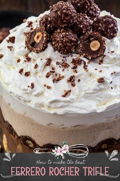 This Ferrero Rocher Trifle is a showstopper! Consisting of 6 layers of pure decadence, this trifle is beautiful, impressive and totally Instagrammable. This spectacular easy dessert recipe is a great make ahead dessert for summer and July 4th. It takes about 30 minutes to make and then left the fridge do the rest for you! It's so much easier than it looks! | www.oliviascuisine.com | #trifle #dessert