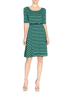 Striped Fit-And-Flare Knit Dress | Women's Dresses | THE LIMITED  #GreenStripeDress  #TheLimited