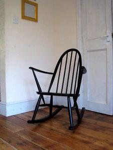 Vintage-Retro-Rare-Black-Ercol-Quaker-Adult-Full-Size-Rocking-Chair-Nursing