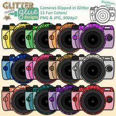 Cameras Dipped in Glitter Clipart - Digital SLR 35mm - Technology Usage #clipart #tpt #education #technology #teacherspayteachers