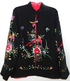 Art Deco Chinese Hand Embroidered Black Silk Peacock Floral Reversable Jacket   615