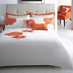 Capri Orange Bedlinen - Beautiful orange flower applique bed linen.  #Bedding #Bedlinen #Spring13