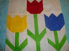 3 Tulips quilt block.  Check me out on Facebook for more!  http://www.facebook.com/kraftswithkaty