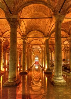 "The Basilica Cistern (Turkish: Yerebatan Sarayı - ""Sunken Palace"", or Yerebatan Sarnıcı - ""Sunken Cistern""), is the largest of several hundred ancient cisterns that lie beneath the city of Istanbul (formerly Constantinople), Turkey. The cistern, located 5 Hagia Sophia, Antalya, Beautiful Buildings, Beautiful Places, Places Around The World, Around The Worlds, Places To Travel, Places To Visit, Nature Landscape"