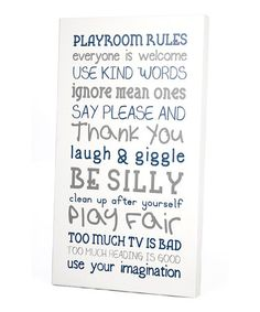 Another great find on #zulily! White 'Playroom Rules' Wall Art by Twelve Timbers #zulilyfinds