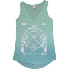 Womens Freebird Dream Catcher Arrow Boho Peace Sign Print Bella Flowy... ($20) ❤ liked on Polyvore featuring tops, tanks, silver, women's clothing, boho chic tops, v neck tank, v-neck tank tops, green tank top and print tank