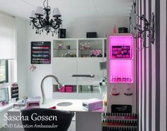 Home salon ideas nail room idea technician home salon decorating ideas unique names wall decor for . home salon ideas Home Nail Salon, Nail Salon Design, Nail Parlour, Nail Station, Name Wall Decor, Small Home Theaters, Nail Room, Beauty Salon Decor, Treatment Rooms