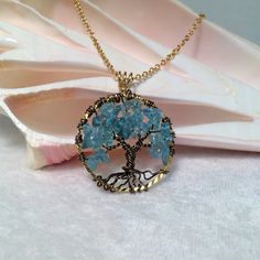 Tree Of Life Necklace Apatite Pendant on Diamond by Just4FunDesign, $27.00