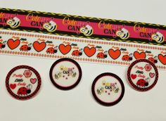 2 Yards,4 Resin Mixed lot Bee and Ladybug Inspired Ribbon and Resins #Unbranded