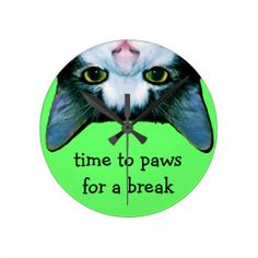 Funny Cat Face Wall Clock, paws for a break