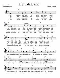 Free Sheet Music for Beulah Land. Enjoy!