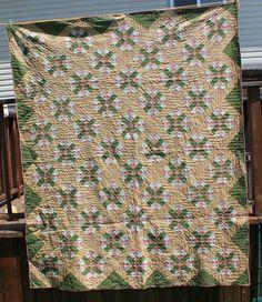 Antique Pennsylvania Cross Patchwork Calico Quilt 1800S