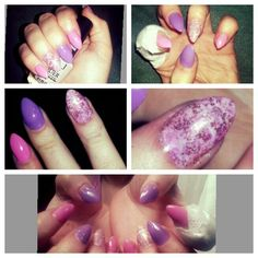 Excuse the bandaged finger *Acrylic tips, shellac, pink, purple, marble nail art, glitter*
