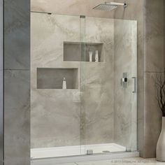 Shop DreamLine Mirage-X 44-in to 48-in W x 72-in H Frameless Sliding Shower Door at Lowes.com
