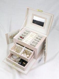 Multi-function Jewelry Box with Handle Mirror Lock Drawer Jewelry Organizer Jewelry Box Plans, Kids Jewelry Box, Jewellery Boxes, Jewellery Storage, Jewelry Organization, Jewelery, Diy Jewelry Organizer, Handmade Jewelry Box, White Jewelry Box