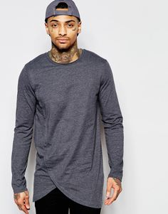Image 1 of ASOS Longline Long Sleeve T-Shirt With Asymmetric Curve Hem