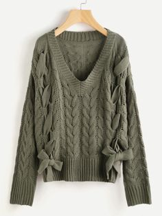 Lace Up Cable Knit Jumper