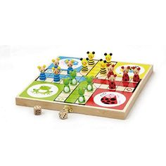 Floor Games - Viga Toys Real Wooden Ludo Board Game with Animal Counters ** Want additional info? Click on the image.