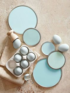 "Eggshell Blue Paint Colors This livable hue can underscore the palette of a whole house. ""Maybe it's the walls in your living room and the ceiling in your bedroom, a table in the den, and china in the dining room,"" Penney says. Wall Colors, House Colors, Paint Colours, Teal Paint, Light Blue Paint Colors, Beachy Colors, Relaxing Colors, Light Blue Walls, Neutral Paint"