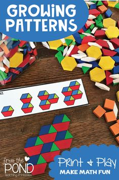 These printable activity cards will provide your students with 48 different growing patterns to create and extend with wooden pattern blocks. Algebra Activities, Math Activities For Kids, Preschool Math, Kindergarten Math, Fun Math, Numeracy, Pattern Block Templates, Pattern Blocks, Math Patterns
