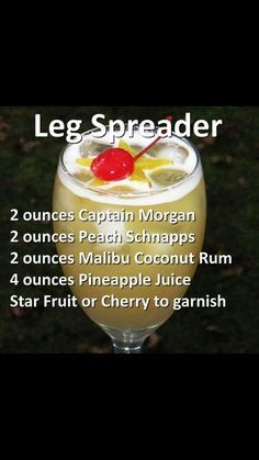 Leg spreader ooh be careful of this one yum! Cocktail Shots, Cocktails, Cocktail Recipes, Brunch Drinks, Drink Recipes, Liquor Drinks, Alcoholic Drinks, Drinks Alcohol, Peach Schnapps