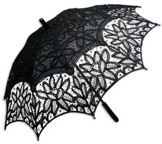 Our fine parasol offers protection from the sun in the form of a lovely lace confection. Perfect for a Sunday stroll with your suitor. $39.95