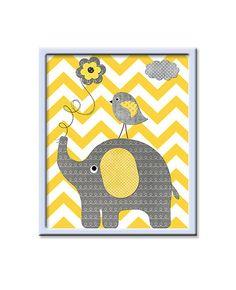 Jaune et gris éléphant pépinière mur Art bébé par artbynataera