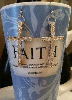 Silver bling cross earrings set.