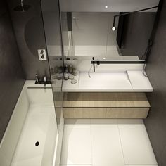 Home Design Interesting Tiny Bathroom Design Modern Minimalist Style With Dark Grey Wall And Huge Square Mirror Excellent Design For Small Spaces With 3 Cozy Micro Lofts Small Apartment Interior, Bathroom Interior, Small Apartment Bathrooms, Bathroom Design Inspiration, Modern Bathroom Design, Small Space Design, Small Spaces, Bathroom Layout, Small Bathroom