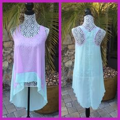 ✨HP✨LAVENDER & AQUA HI-LOW TUNIC Beautiful hi-low tunic top, great layering piece for Summer 100% Polyester✨HP by @roxygirl1 Ali & Kris Tops Tunics