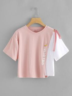 Asymmetrical Hem Color block Self Tie Tee - Trendy Dresses Girls Fashion Clothes, Teen Fashion Outfits, Cute Fashion, Fashion Ideas, Crop Top Outfits, Cute Casual Outfits, Stylish Outfits, Girly Outfits, Jugend Mode Outfits