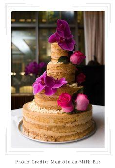 (Christina Tosi) four-tiered naked dulce de leche cake with dulce de leche frosting, dulce de leche, and milk crumbs Bolos Naked Cake, Naked Cakes, Christina Tosi, Mini Cakes, Cupcake Cakes, Milk Bar Cake, Textured Wedding Cakes, Momofuku Milk Bar, Momofuku Cake