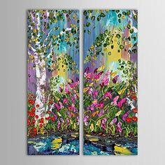 【今だけ☆送料無料】 アートパネル  自然・風景画2枚で1セット ピンク チューリップ 森林 お花【納期】お取り寄せ2~3週間前後で発送予定