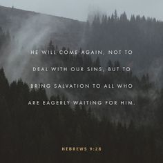 28 so Christ was offered as a sacrifice one time to take away the sins of many people. And he will come a second time, not to offer himself for sin, but to bring salvation to those who are waiting for him. (Hebrews 9:28 NCV)
