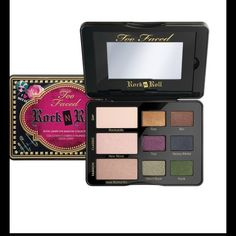 Too Faced Rock N Roll Metallic Eye Pallet NEW A dose of studs, spikes and smokey shadow can go a long way in making you feel like a total badass. Release your inner rock star with this new Rock N Roll Eye Shadow Collection featuring nine matte to metallic, edgy shades that will guarantee you a backstage pass.  A palette of nine shadows in edgy matte to rich, high-pigment metallic shadows. Includes how-to Glamour Guide offers step-by-step application instructions for three rock n roll looks…
