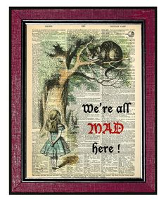 ALICE IN WONDERLAND Wall Decor Book Art Dictionary by DogEarPrints, $12.00