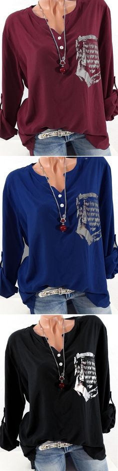 UP TO 48% OFF! Casual Heart Print Loose Long Sleeve V-neck Women Blouses. SHOP NOW!