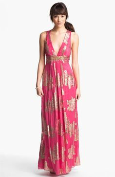 Xscape Embellished Metallic Chiffon Gown
