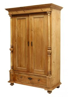 Antique stripped pine linen cabinet, Eastern Europe, c. on Dec 2013 Armoire, Primitive Cabinets, Linen Cabinet, Closet Storage, Cupboards, 2013, Beautiful Roses, White Porcelain, Antique Furniture