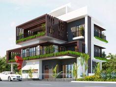 Modern bungalow design with beautiful flower beds & elevation. Modern Bungalow Exterior, Modern Exterior House Designs, Modern House Design, Design 3d, Facade Design, Design Concepts, Bungalow House Design, House Front Design, House Architecture Styles
