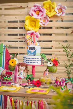What a pretty beach birthday party! See more party ideas at CatchMyParty.com!
