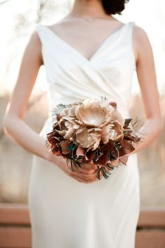 Feather bouquet with leather leaves