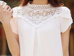 vrouwen tops on sale at reasonable prices, buy Korte Blusa 2019 Zomer Vrouwen Tops Nieuwe Koreaanse Blouses Chiffon Overhemd Stiksels Kant Werk Blouse from mobile site on Aliexpress Now! Blouse Styles, Blouse Designs, Formal Tops, Altering Clothes, Chiffon Shirt, Work Blouse, Fashion Wear, Blouses For Women, Ideias Fashion