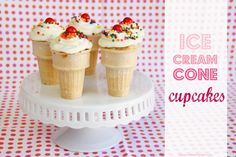 Ice Cream Cone Cupcakes.....great for an outdoor summer party!  Since it's cake, no messy ice cream drips!!  www.makeit-loveit.com