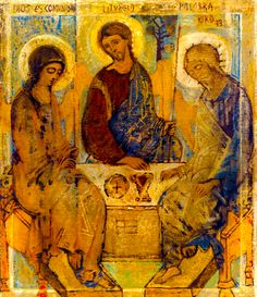 St. Andrei Rublev's icon of the Holy Trinity: Re-interpreted as the Holy Family by Kiko Arguello. May we see our families as holy.