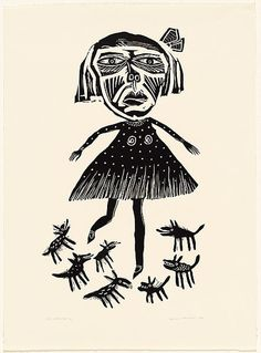 Artist: HANRAHAN, Barbara | Title: Girl with Dogs | Date: 1989 | Technique: linocut, printed in black ink, from one block
