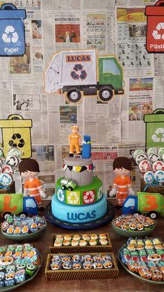 O inusitado aniversário do Lucas: tema caminhão de lixo