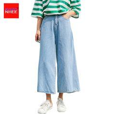 Loose Thin Wide Leg Jeans For Women With High Waist Bell-bottoms Wide Leg Jeans women denim Capri Jeans #Affiliate